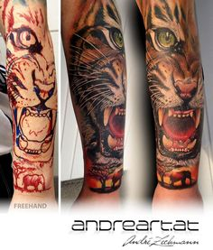 Freehand Tiger tattoo in 9hours by André Zechmann