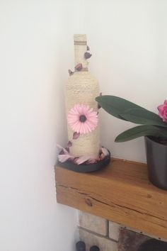 Bottle with plastic Flower Decoration