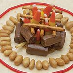 How to Build a Campfire (teaches kids the how-tos of safe campfire building using candie and other snacks)  Fun idea!