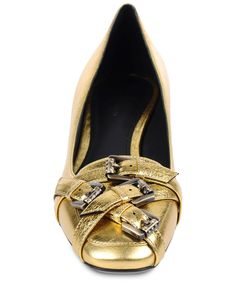 Bottega Veneta Buckle-Detailed Leather Loafers in Gold | Lyst