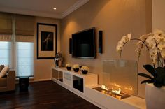 Bioethanol fireplace in a fab living room
