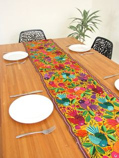 Embroidered Table Runner | ChiapasBazaar.com | Handmade Mexican Blouses,  Accessories U0026 Home Decor