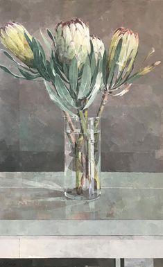 Jeannie Kinsler: Proteas In A Glass Vase: fine art | StateoftheART Protea Art, Flower Vases, Flowers, Painting Techniques, Canvas Size, Original Artwork, Glass Vase, Fine Art, Gallery