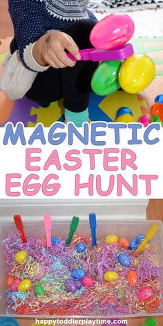 Magnetic Easter Egg Hunt - HAPPY TODDLER PLAYTIME - - This is a fun and simple to set up Easter egg sensory bin, where your toddler or preschooler can explore the magic of magnets. Easter Art, Easter Crafts For Kids, Easter Eggs, Easter Ideas, Bunny Crafts, Easter Table, Easter Crafts For Preschoolers, Easter Play, Easter Decor