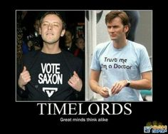 The Master and The Doctor - both wearing Doctor Who t-shirts