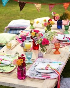 colorful party; old door used as table