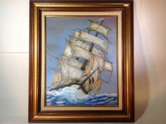 Vintage Nautical Oil Painting of a Ship on High Seas by J. Durham