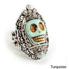 Sweet Romance Day of the Dead Sugar Skull Southwest Statement Ring ($42) ❤ liked on Polyvore featuring jewelry, rings, black, carved jewelry, sweet romance, adjustable skull ring, wide band rings and adjustable rings