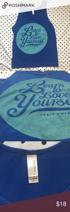 """Learn to love yourself"" Craig Owens Tank Top •Very Good •Craig Owens of Chiodos / badXchannels. ""Learn to love yourself"" on blue tank top. Men's small - fit women's small-medium. Was purchased at Warped Tour a couple years ago and has held up wonderfully unlike a lot of band merch today 🙄  ~music festival, positivity, graphic, stay positive, happy, summer style, pierce the veil,  hardcore, punk rock, hot topic~ Hot Topic Shirts Tank Tops"