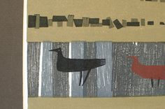 Vintage Matted Mod Bird Woodblock Print - Mid Century