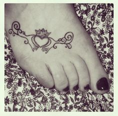"""Claddagh tattoo, but I want to get it centered around my ankle with the initials """"CHT"""" in the heart :) <3"""