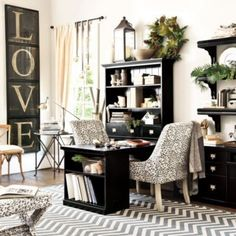 Katherine Home Office... What a classy looking office!  Love the LOVE. by lea