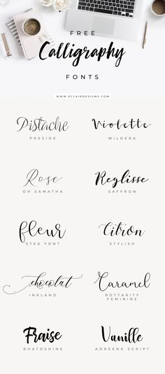 Eclair Designs 10 FREE CALLIGRAPHY FONTS 10 Free Calligraphy Fonts<br> Looking for feminine Wordpress theme? Eclair Designs is a branding and website design house that brings your dream project to life. Kalender Design, Schrift Tattoos, Brush Lettering, Lettering Tattoo, Vinyl Lettering, Lettering Ideas, Tattoo Handwriting Fonts, Fonts For Tattoos, Lettering Tutorial