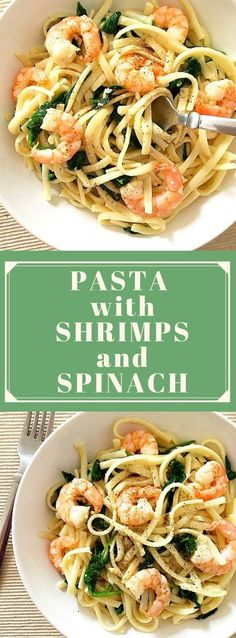 Pasta with shrimps and spinach, a quick dish that is ready in under 30 minutes, ideal for a midweek dinner when time is ever so precious. Flavourful, filling, and so garlicky. #pastawithshrimps, #shrimps , #30minuterecipe