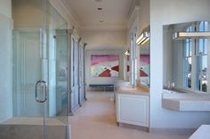 The master bathroom includes two separate dressing areas. It has views of downtown, Coit Tower and the Bay Bridge.