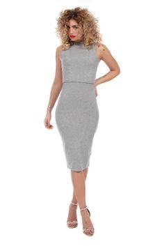 Nina High Neck Layer Midi Dress Grey