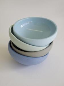 Set of 4 small stoneware bowls, beautiful glazes, from Fleet Objects, $40