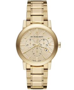 Burberry Women's Swiss Chronograph The City Gold Ion-Plated Stainless Steel Bracelet Watch 38mm BU9753