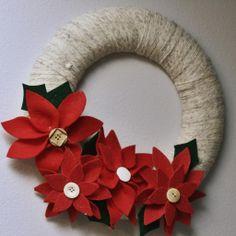 foam wreaths | ... : (It's still Tuesday somewhere): Yarn-wrapped Poinsettia Wreath