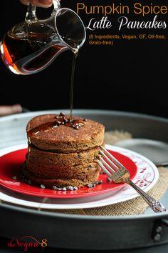 8 Ingredient Pumpkin Spice Latte Pancakes! To die for. Vegan, gluten-free, oil-free, grain-free! By http://TheVegan8.com #vegan #glutenfree #oilfree #grainfree #pancakes #breakfast