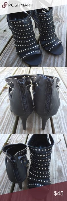 Torrid Black Studded Heels New! Tried on inside my home but I feel they are to high for me. Measures about 4 inches. 10 wide. torrid Shoes Ankle Boots & Booties