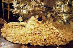 No-sew DIY ruffle tree skirt