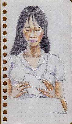 白いシャツのお姉さん(電車でスケッチ) It is a woman of sketch wearing a white shirt.  I drew in a commuter train.