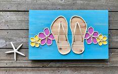 Handmade Flip Flops with Rope Beach Pallet Art Flip Flop Art Coastal Decor Nautical Decor Rope Art - Nautical Tropical Coastal Islander - Rope Crafts, Beach Crafts, Diy Crafts, Pallet Art, Diy Pallet Projects, Pallet Ideas, Art Corde, Flip Flop Art, Flip Flops