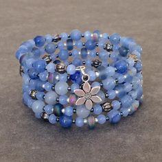 Blue Cuff Bracelet Beaded Cuff Bohemian Blue Bracelet Spiral Wrap Bracelet Blue Bangle Bracelet Multi Wrap Bracelet Blue Boho Memory Wire by BarbsBeadedJewelry on Etsy