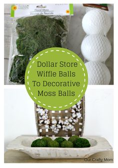 How To Make Gorgeous Moss Balls From Dollar Store Finds via Heather @ Centsible … - diy und selbermachen ideen Dollar Tree Decor, Dollar Tree Crafts, Dollar Tree Finds, Mousse, Diy Garden Decor, Diy Home Decor, Garden Ideas, Thrift Store Crafts, Do It Yourself Home