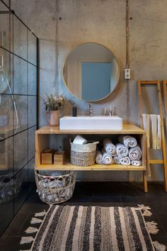 This sustainable Spanish home is full of light and natural materials. Spanish House, Bathroom Interior Design, Home Decor Wall Art, Bathroom Furniture, Bathroom Storage, Home Decor Accessories, Home Gifts, Apartment Therapy, House Tours