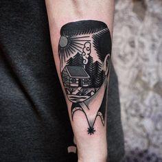 landscape mountain man traditional tattoo bydgoszcz