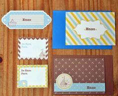 Kit menino com cartões sociais e etiquetas  #papelariapersonalizada #stationary #blocopersonalizado #dayusepapelaria