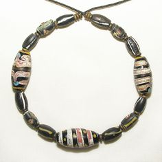 8+ inches old antique venetian fancy & brass heishi beads african trade #329