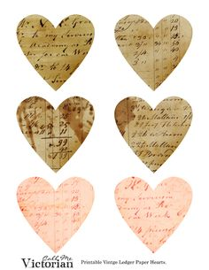 Free Printable or for Digital Use...really sweet vintage hearts in several colors