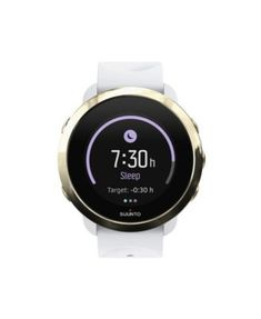 Suunto 3 Fitness Watch, Gold/White White Silicone Band, A Goldtone Bezel with a Digital Dial - Gold