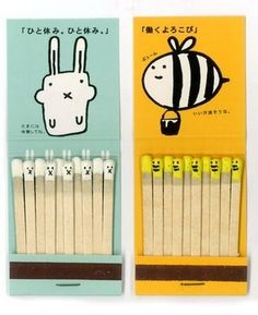 japanese design matchsticks - these are so cute. love the simple illustrations - can't help but think these will probably entice children to play with them D: / sp