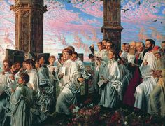 William Holman Hunt (1827-1910), May Morning on Magdalen Tower - 1891