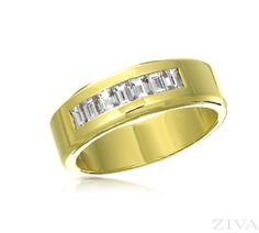 Mens Wedding Ring with Baguette Diamonds