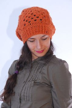 Crochet orange beanie hat merino wool blend by SexyCrochetByOlga