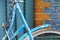 Peeling Bicycle in Amsterdam, digitally colored.