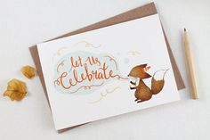 Let us Celebrate, Fox - 10 Greeting Cards
