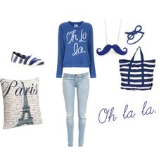 bag, blue, effeil tower, france, french, jeans, light, mode, moustaches, necklace, oh la la, outfit, paris, parisien, pillow, polyvore, ribbon, ring, skinny, striped, style, sweater, sweatshirt, white, wow
