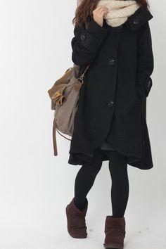Black cloak wool coat Hooded Cape women Winter wool coat by MaLieb, $139.00