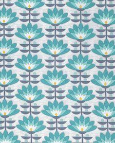 Atrium Fabric by Joel Dewberry Deco Bloom Vintage Mint Blue Floral Flowers