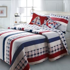 red blue striped nautical themed bedding twin fullqueen king quilt set teen boy plaid