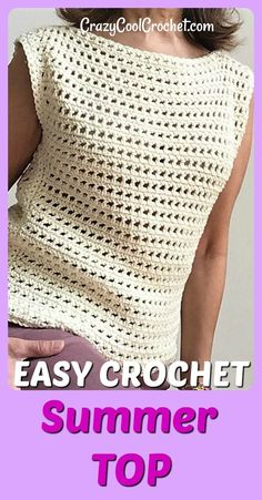 FREE crochet pattern for this easy, breezy, crochet summer top. Very easy for crochet beginners. #freecrochetpatterns #crochetsummertops #easycrochet #crochetforbeginners #crochetcotton #crochetfreepatterns #crazycoolcrochet