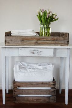 Love this white and wood look...it is a warm and welcoming look.