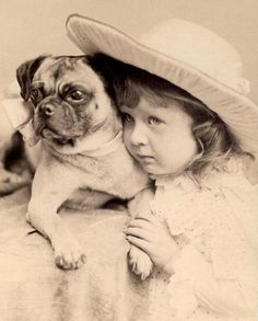 +~+~ Antique Photograph ~+~+ Little girl and pug sweetness!