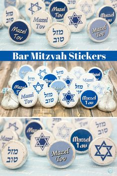 Create your own Bar Mitzvah favors or table scatter decorations with these stickers. Features shades of blues with Mazel Tov and Star of David. Simple, easy and delicious. Place on Hershey Kisses, min Bar Mitzvah Decorations, Bar Mitzvah Centerpieces, Bat Mitzvah Themes, Festa Bar Mitzvah, Bar Mitzvah Favors, Hannukah Cookies, Bar Mitsva, Jewish Crafts, Sbar